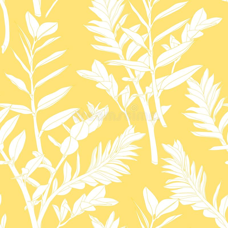 Beautiful exotic Zamioculcas Leaf Silhouette Seamless Pattern Background. vector illustration