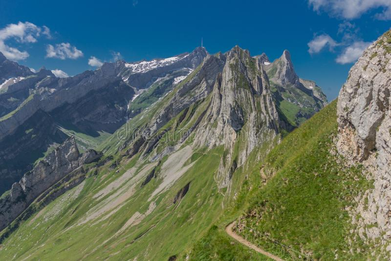 Beautiful exploration tour through the Appenzell mountains in Switzerland. - Appenzell/Alpstein/Switzerland. August 2019 royalty free stock photo