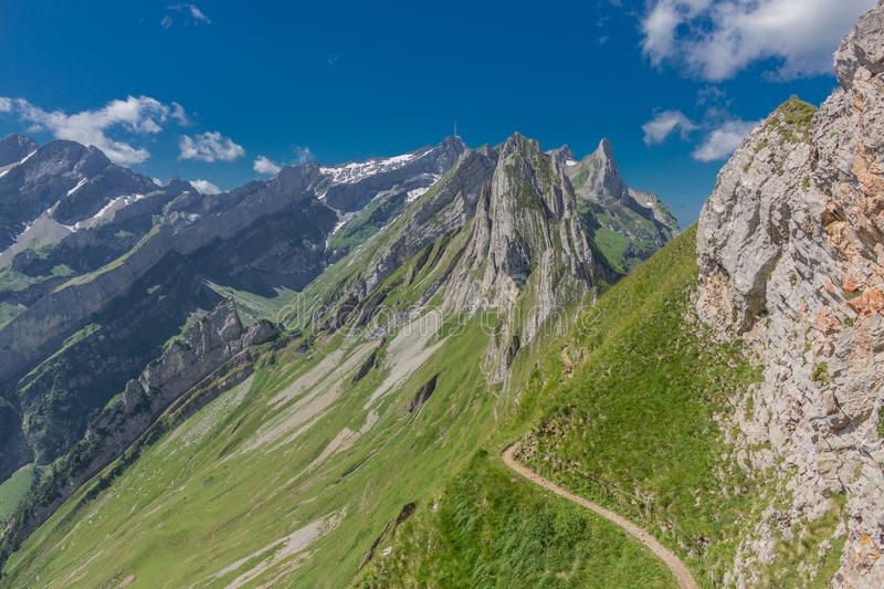 Beautiful exploration tour through the Appenzell mountains in Switzerland. - Appenzell/Alpstein/Switzerland. August 2019 stock photography