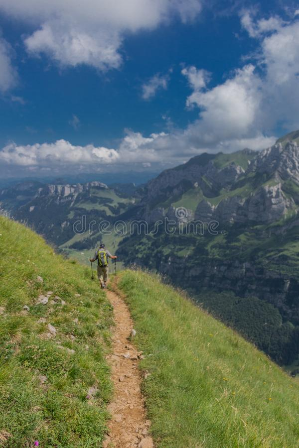Beautiful exploration tour through the Appenzell mountains in Switzerland. - Appenzell/Alpstein/Switzerland. August 2019 stock images