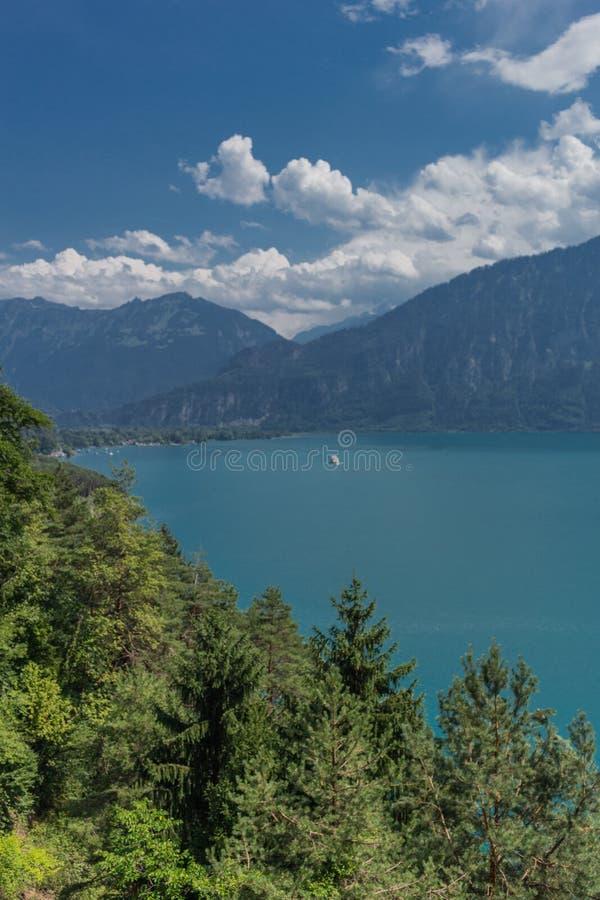 Beautiful exploration tour through the mountains in Switzerland. - Lake Thun/Switzerland. August 2019 stock photography