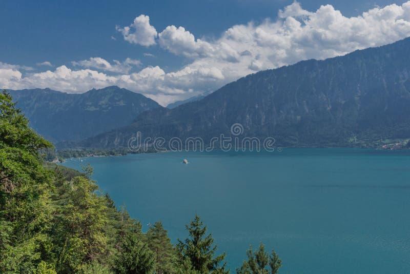 Beautiful exploration tour through the mountains in Switzerland. - Lake Thun/Switzerland. August 2019 royalty free stock photography