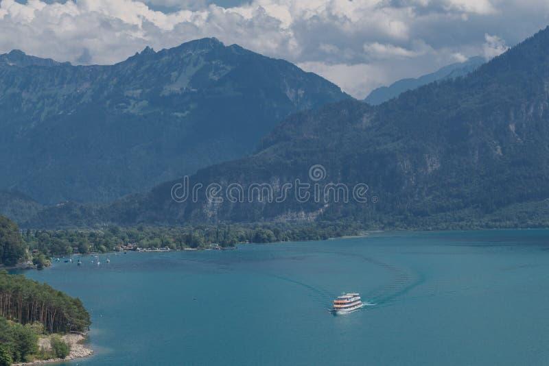 Beautiful exploration tour through the mountains in Switzerland. - Lake Thun/Switzerland. August 2019 stock images