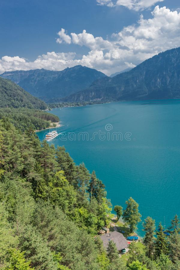 Beautiful exploration tour through the mountains in Switzerland. - Lake Thun/Switzerland. August 2019 royalty free stock images
