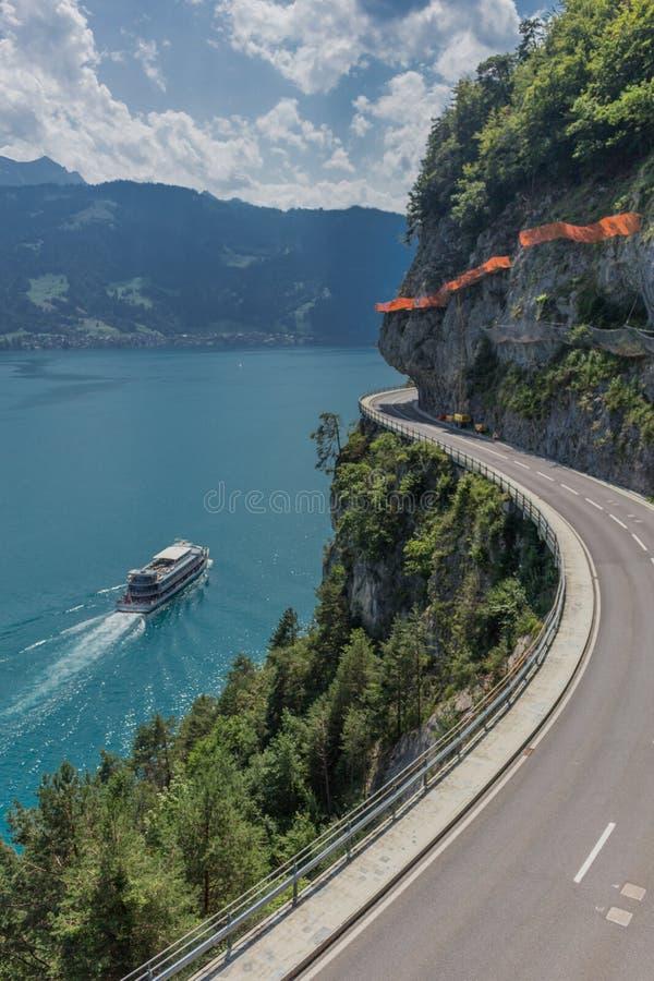 Beautiful exploration tour through the mountains in Switzerland. - Lake Thun/Switzerland. August 2019 stock photos