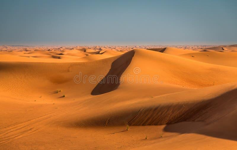 Desert sunset exposure near Dubai, United Arab Emirates stock photo