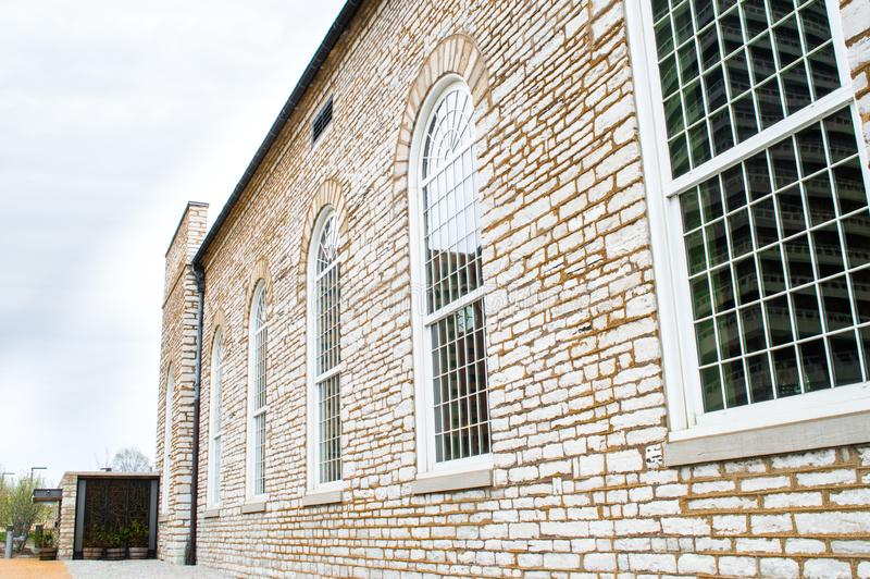 Beautiful exterior brick wall and paned windows at the St. Louis Cathedral in Missouri royalty free stock photo