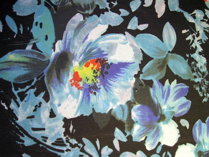 Beautiful fabric with painted flowers royalty free stock images