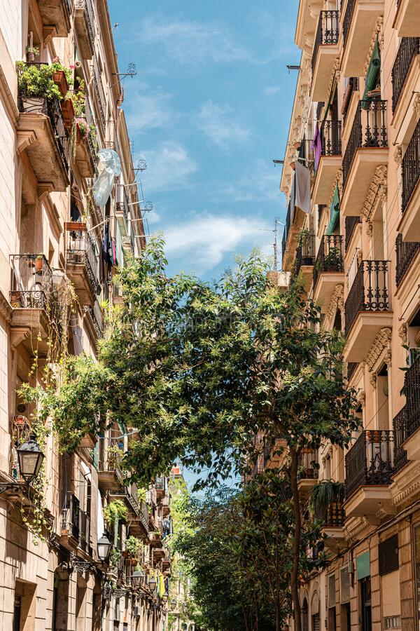 Beautiful Facade Building Architecture In Barcelona, Spain royalty free stock photo