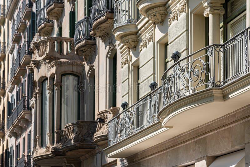 Beautiful Facade Building Architecture In Barcelona, Spain stock photos