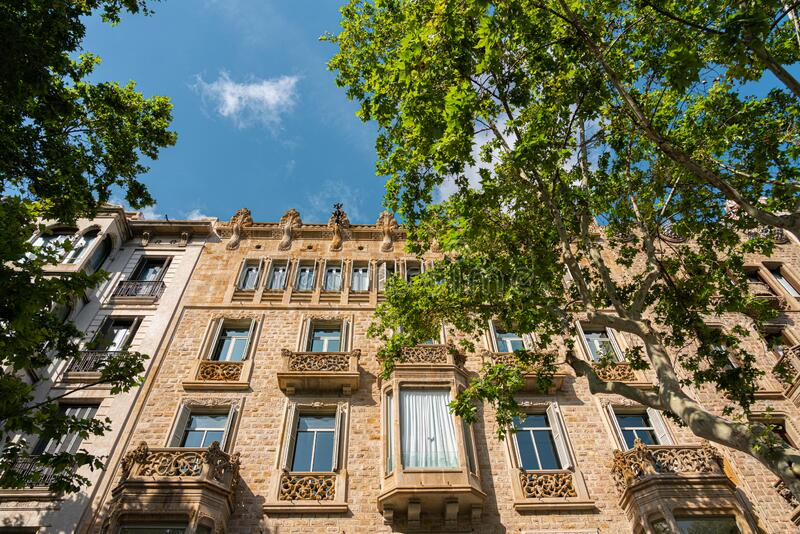 Beautiful Facade Building Architecture In Barcelona, Spain stock photography