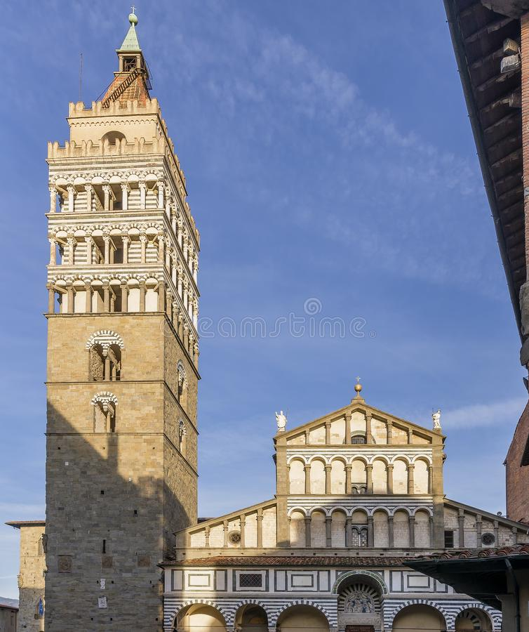 The beautiful facade of the Cathedral of San Zeno in Pistoia, Tuscany, Italy stock images