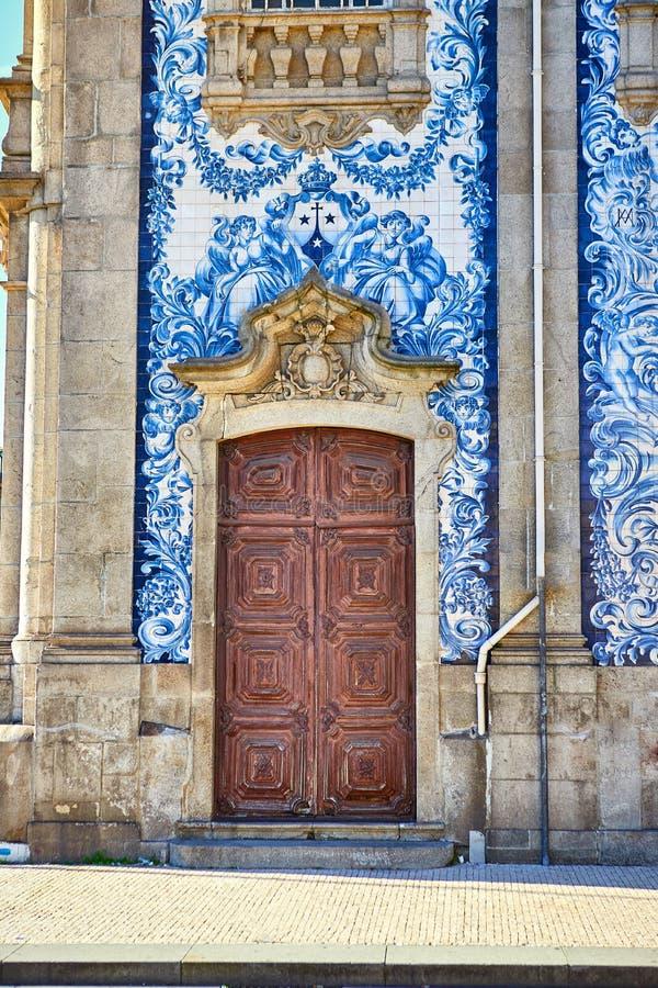Beautiful facade of a historic building Carmelite Church Igreja dos Carmelitas Descalcos in Porto with azulejo tiles. Portugal. Beautiful facade of a historic stock images