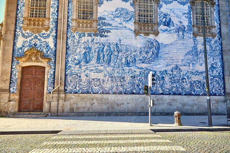Beautiful facade of a historic building Carmelite Church Igreja dos Carmelitas Descalcos in Porto with azulejo tiles. Portugal. Beautiful facade of a historic royalty free stock images