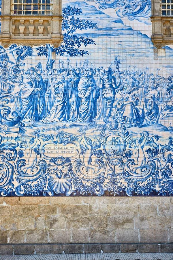 Beautiful facade of a historic building Carmelite Church Igreja dos Carmelitas Descalcos in Porto with azulejo tiles. Portugal. Beautiful facade of a historic stock photos