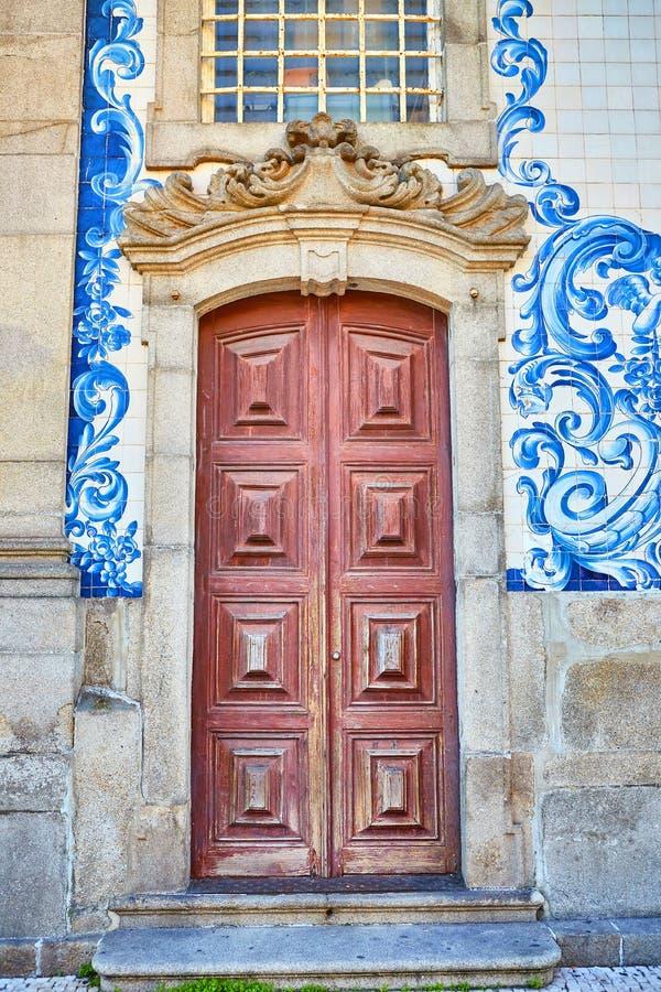 Beautiful facade of a historic building Carmelite Church Igreja dos Carmelitas Descalcos in Porto with azulejo tiles. Portugal. Beautiful facade of a historic royalty free stock photos