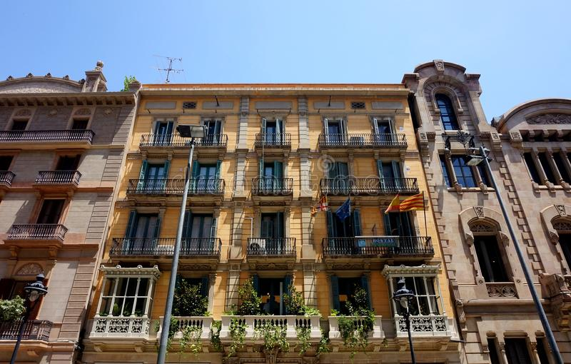 The beautiful facade of the houses on LA Rambla in Barcelona royalty free stock photo