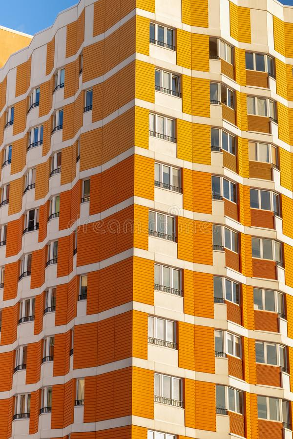 Beautiful facades in a modern residential building. Moscow, Russia. Beautiful facades in a modern residential building. Moscow Russia royalty free stock image