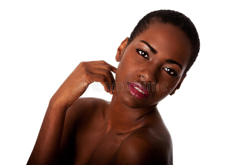 Beautiful face of African woman with good skin stock image