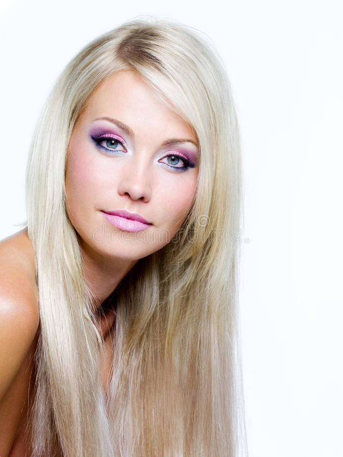 Beautiful face of blond woman stock photography