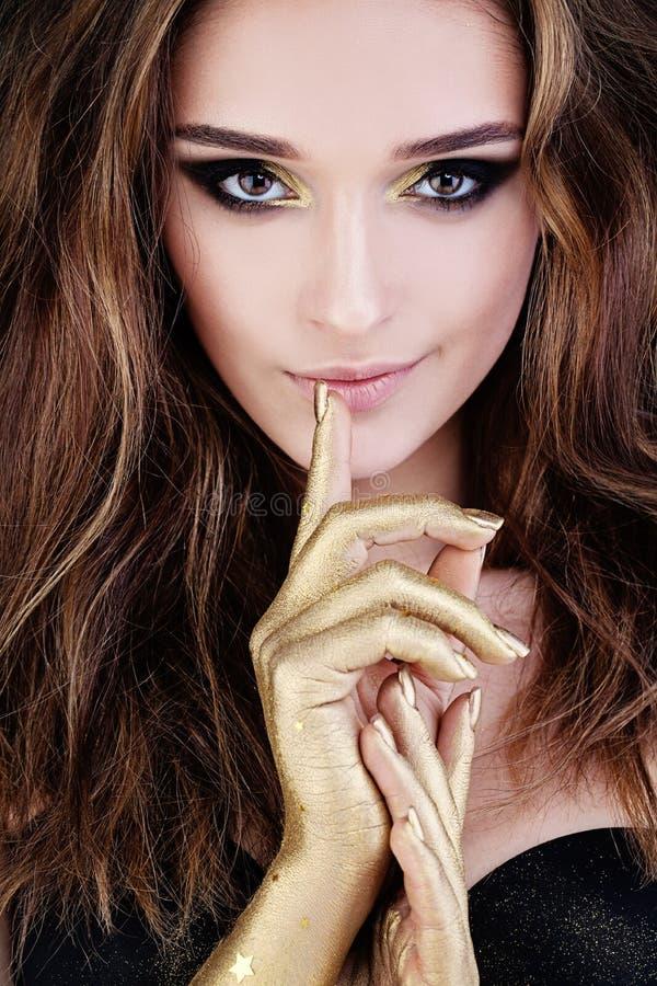 Beautiful Face, Brown Hair, Makeup. Cute Woman royalty free stock photography