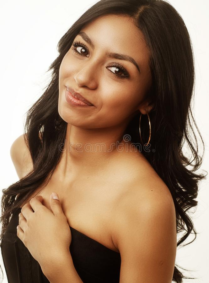 Beautiful face of exotic woman stock photography
