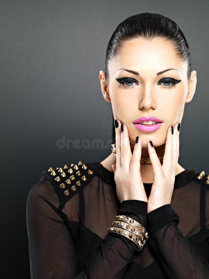 Download Beautiful Face Of Fashion Woman With Black Nails And Bright Make Stock Image - Image of female, face: 30067171