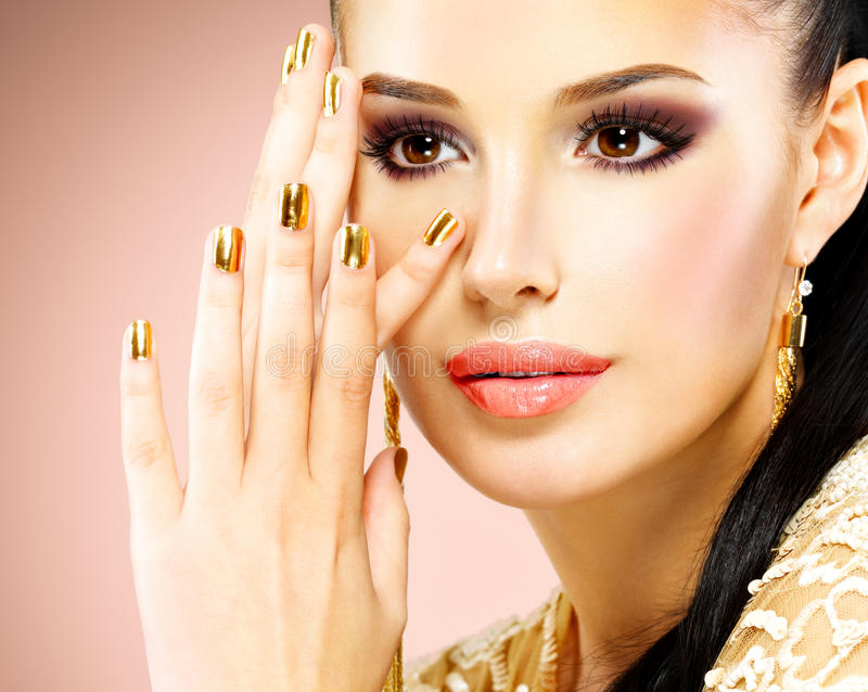 Beautiful face of glamor woman with black eye makeup stock photo
