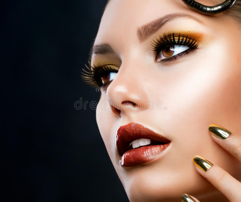 Download Beautiful Face Makeup stock photo. Image of golden, luxury - 25561410