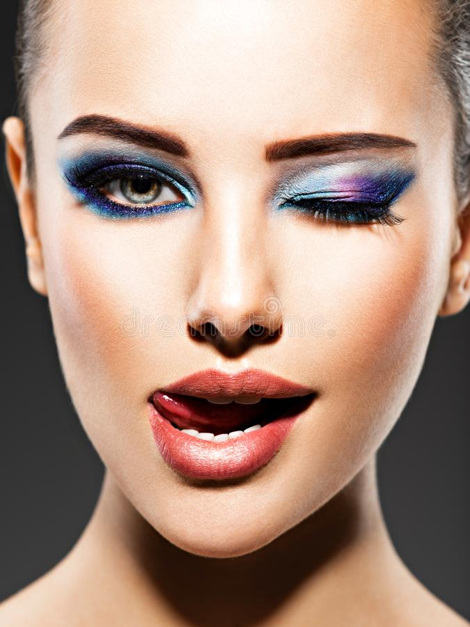 Free Beautiful Face Of An Young Woman With Blue Makeup Of Eyes Royalty Free Stock Photos - 157168928