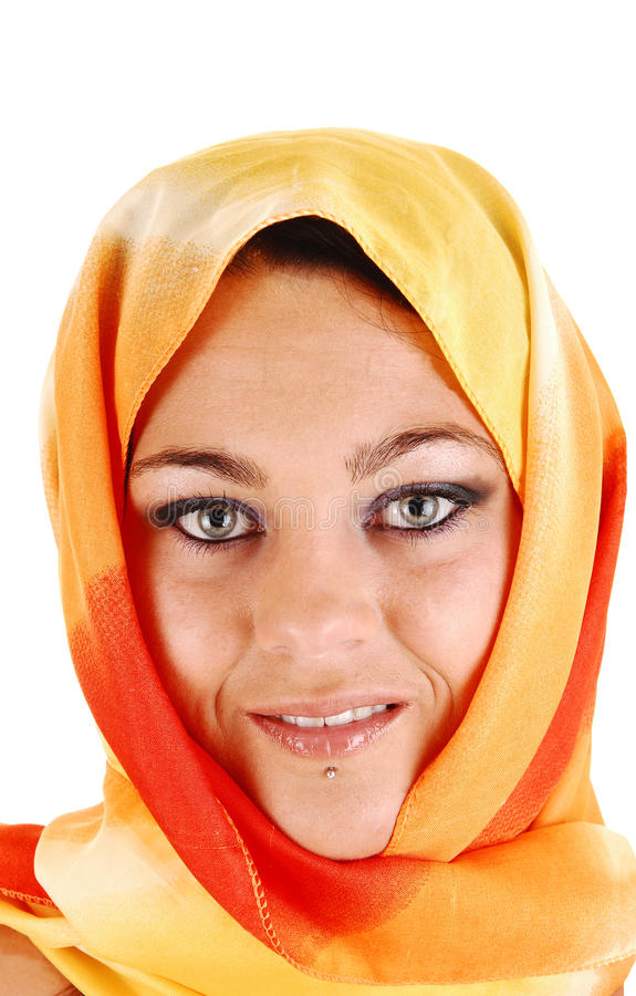 Download Beautiful face with scarf. stock photo. Image of isolated - 27228058