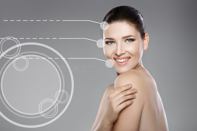 Beautiful face of woman with blue eyes and clean fresh skin. Spa portrait stock photos