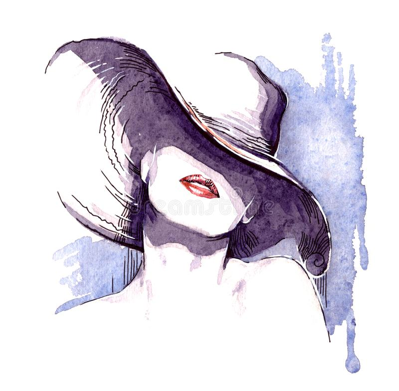 Beautiful face. woman portrait with hat. abstract watercolor .fashion background royalty free illustration