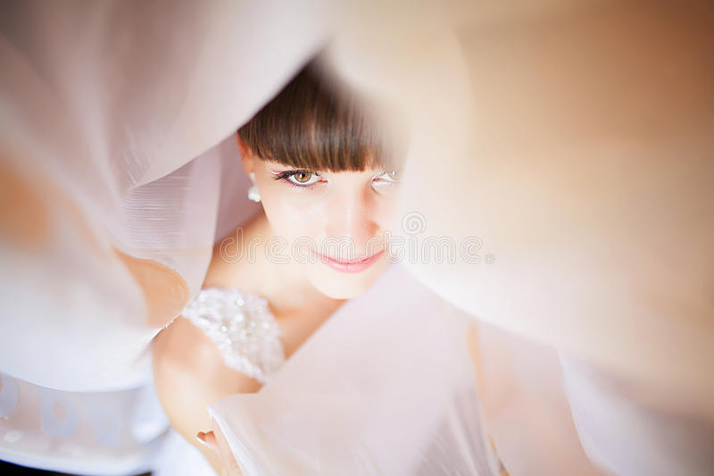 Beautiful Face of Young Blond Bride Woman. Beauty Morning Portrait.Girl Look in Window. Bridal Veil. Curtains stock images