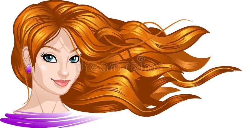 Beautiful girl with long hair. illustration. Beautiful face of a young girl. Developing beautiful hair