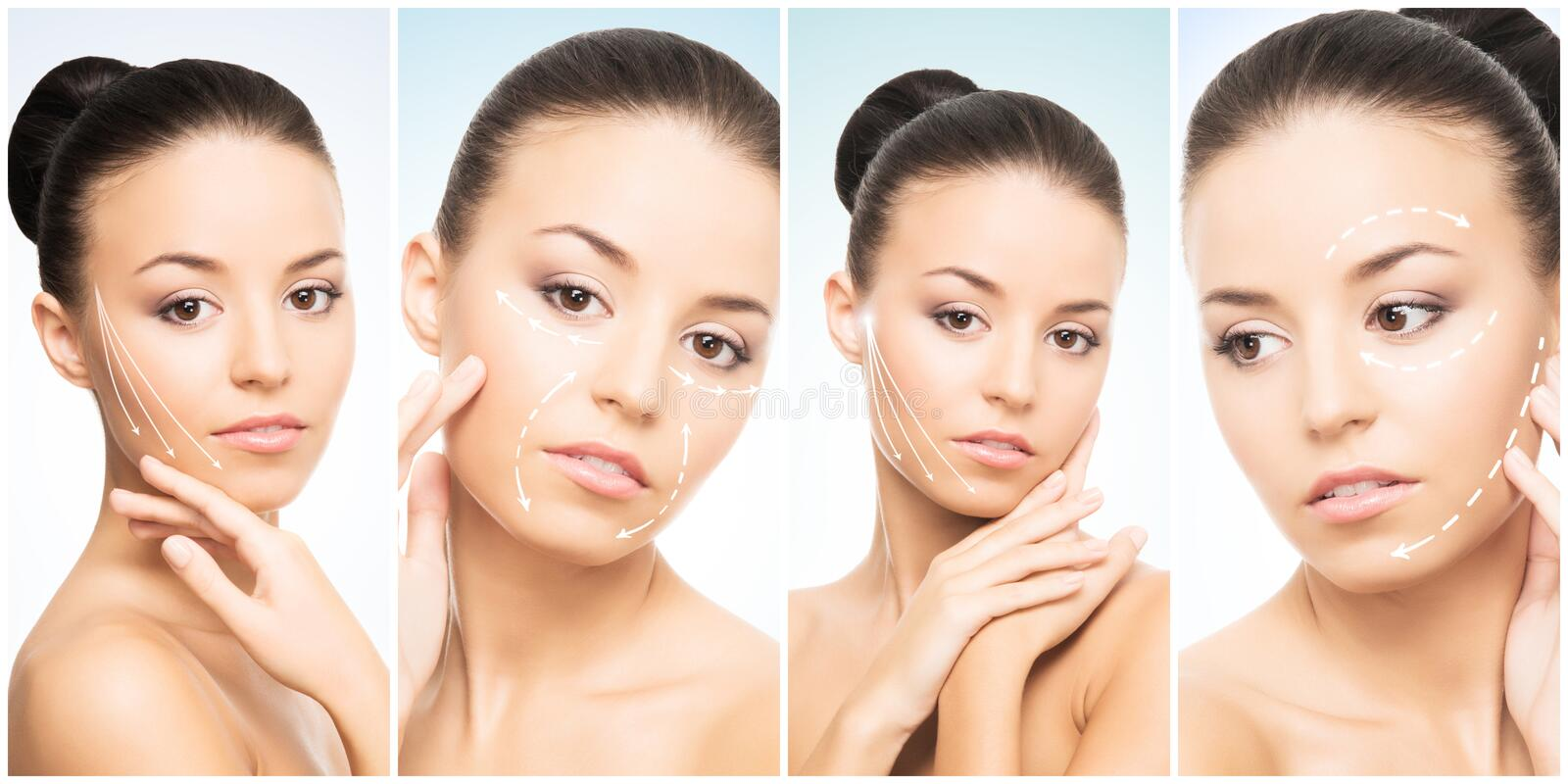 Beautiful face of young and healthy girl in collage collection. Plastic surgery, skin care, cosmetics and face lifting stock photos