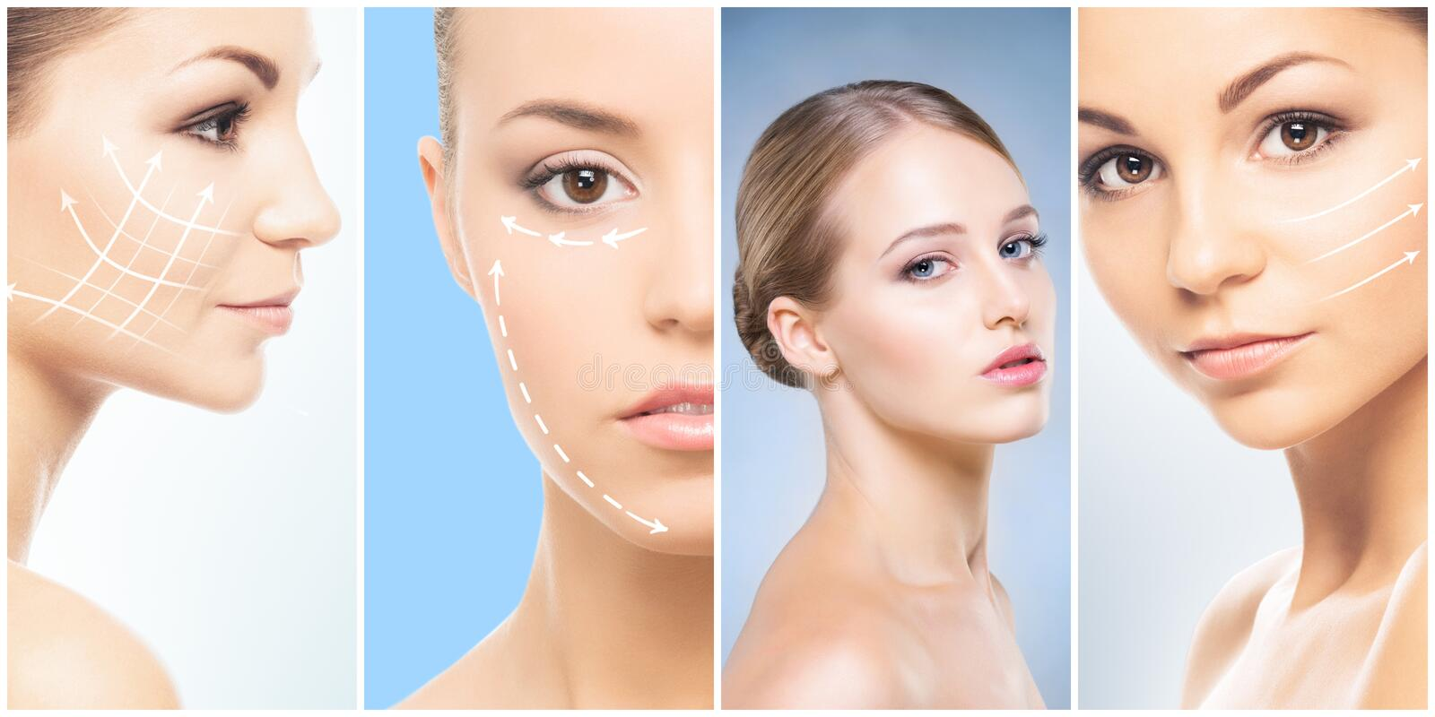 Beautiful face of young and healthy girl in collage collection. Plastic surgery, skin care, cosmetics and face lifting stock photography