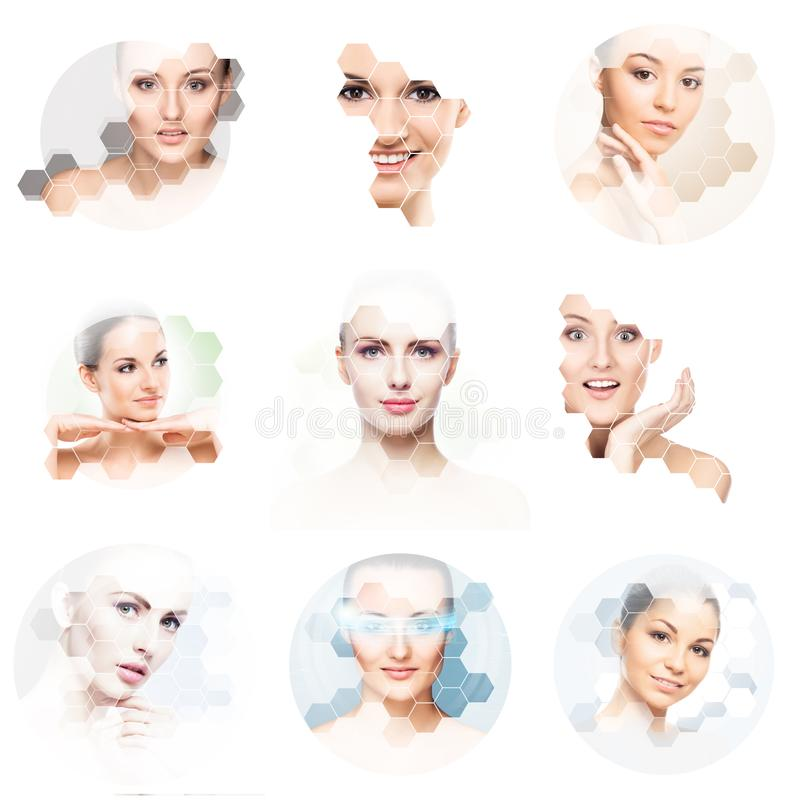 Beautiful face of young and healthy girl in collage. Plastic surgery, skin care, cosmetics and face lifting concept. stock images