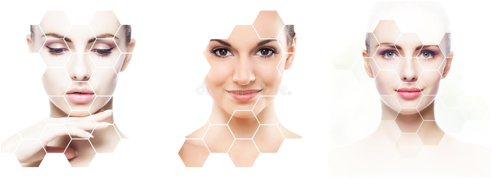 Beautiful face of young and healthy girl in collage. Plastic surgery, skin care, cosmetics and face lifting concept. royalty free stock photography
