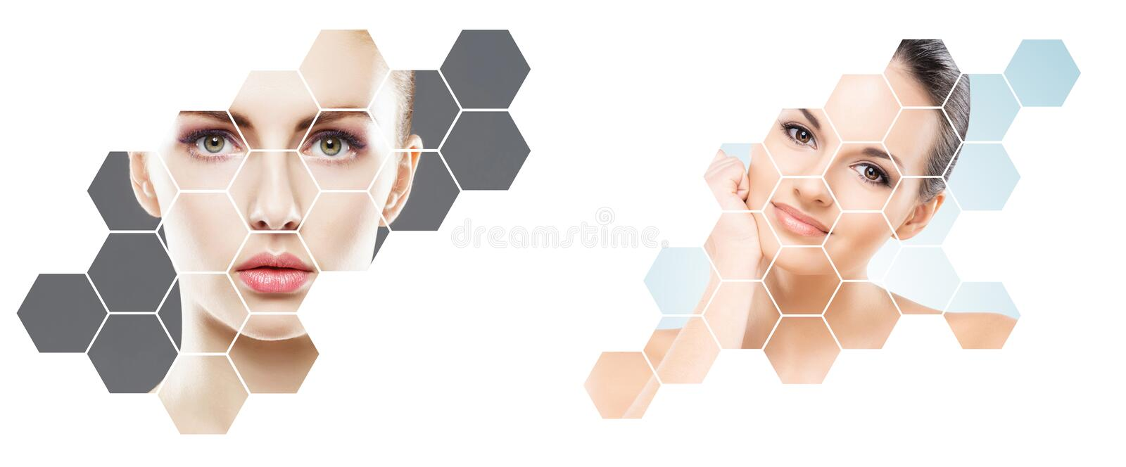 Beautiful face of young and healthy girl in collage. Plastic surgery, skin care, cosmetics and face lifting concept. Beautiful face of young and healthy girl in royalty free stock photography