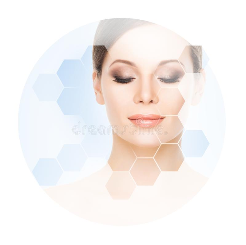 Beautiful face of young and healthy woman. Plastic surgery, skin care, cosmetics and face lifting concept. stock photos