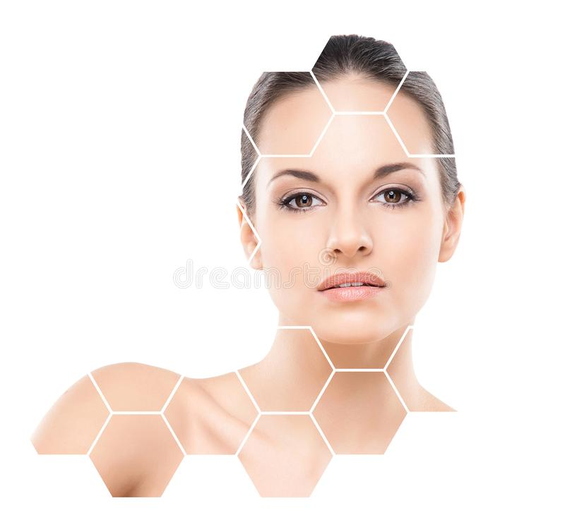 Beautiful face of young and healthy girl. Plastic surgery, skin care, cosmetics and face lifting concept. stock images