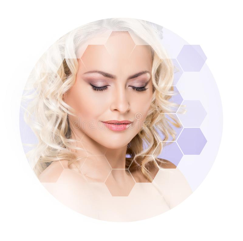 Beautiful face of young and healthy girl. Plastic surgery, skin care, cosmetics and face lifting concept. Portrait of young, healthy and beautiful woman plastic stock photography