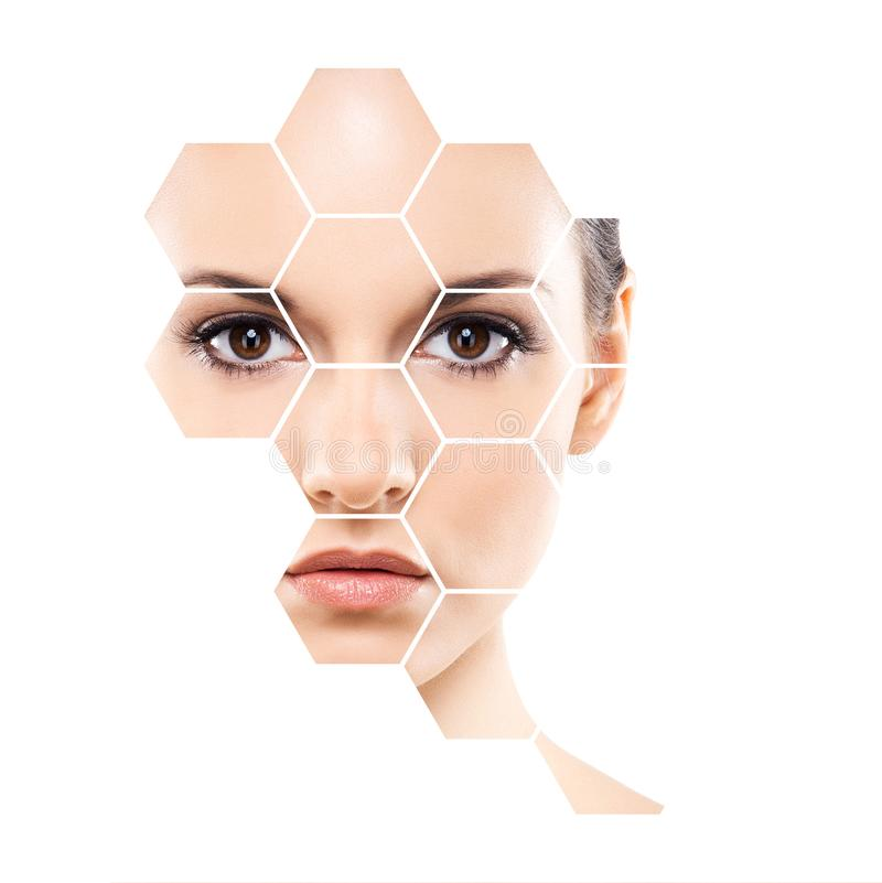 Beautiful face of young and healthy woman. Plastic surgery, skin care, cosmetics and face lifting concept. Beautiful face of young and healthy girl. Plastic royalty free stock photography