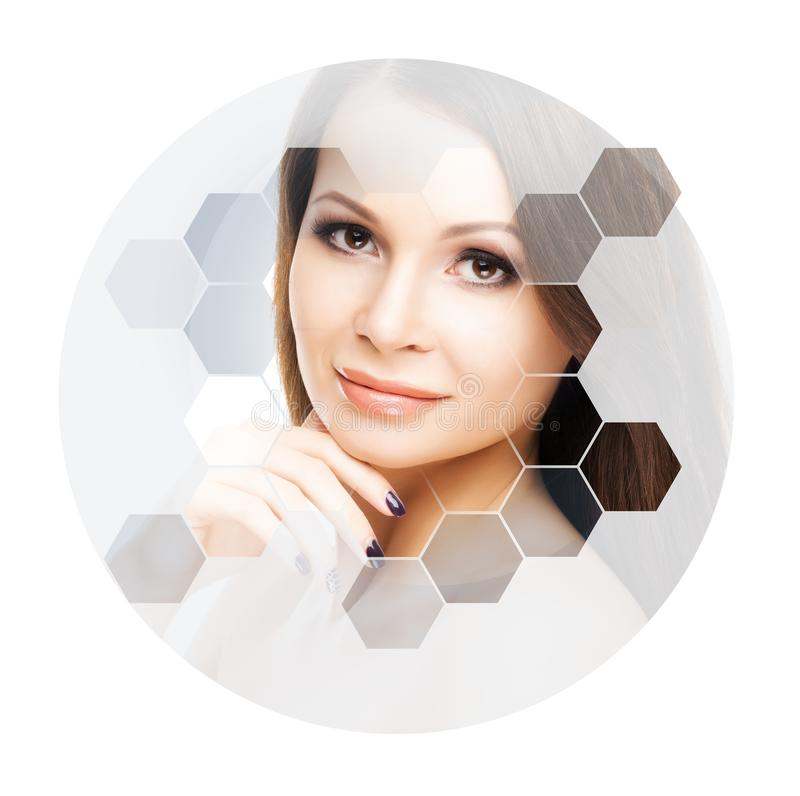 Beautiful face of young and healthy woman. Plastic surgery, skin care, cosmetics and face lifting concept. Beautiful face of young and healthy girl. Plastic royalty free stock photos