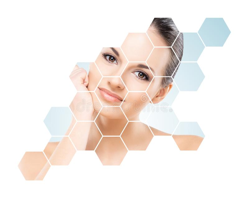 Beautiful face of young and healthy woman. Plastic surgery, skin care, cosmetics and face lifting concept. Portrait of young, healthy and beautiful woman royalty free stock images