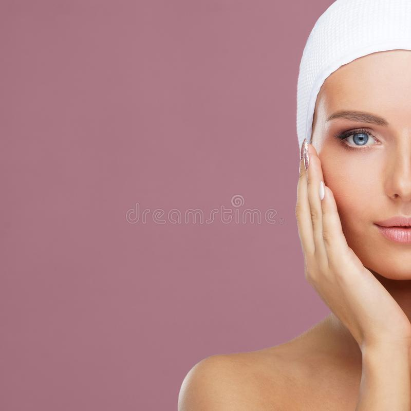 Beautiful face of young and healthy woman. Skin care, cosmetics, makeup, complexion and face lifting. royalty free stock photos