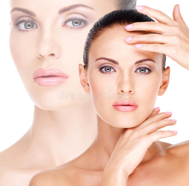 Beautiful face of the young pretty woman with fresh skin stock image