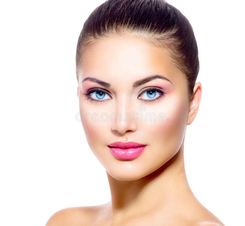 Beautiful Face of Young Woman stock photo