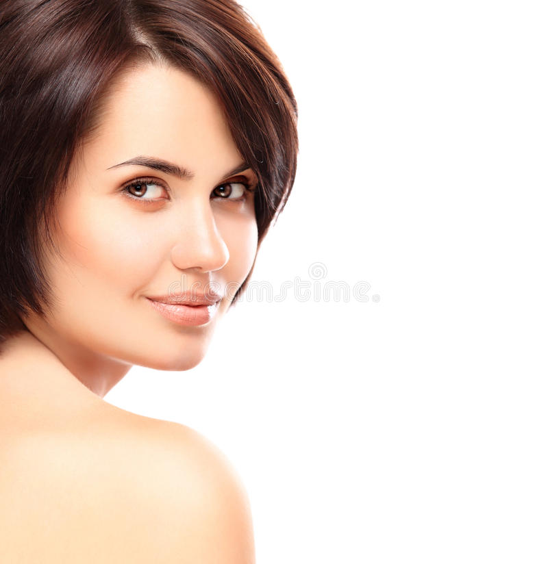 Beautiful Face of Young Woman with Clean Fresh Skin stock images